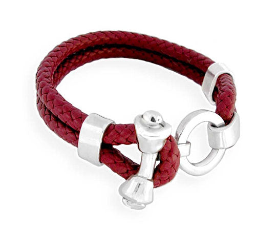 Dog Bone Toggle on Braided Leather Bracelet