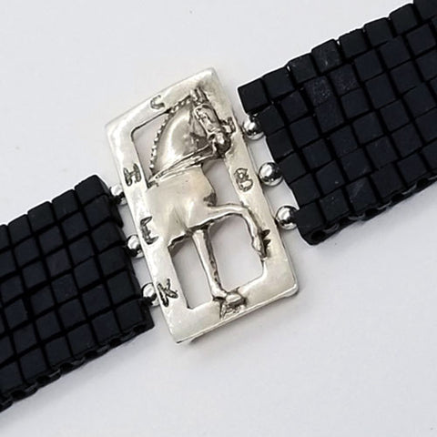 Enter At A Dressage Horse Sterling Silver on Woven Bead Bracelet