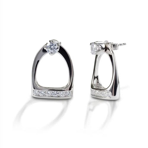 "Stud Earrings with English Stirrup ""Jackets"" in Sterling Silver"