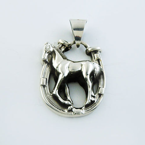 Foal and Horseshoe Pendant Necklace Sterling Silver