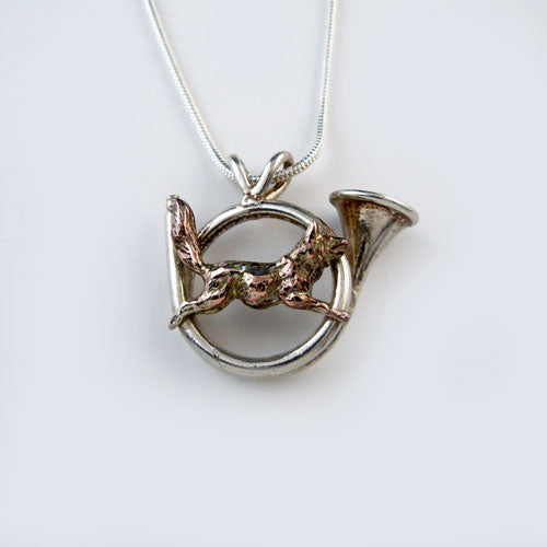 Hunting Horn with Bronze Fox Pendant Necklace