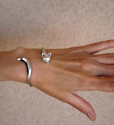 Fox Bangle Bracelet in Sterling Silver
