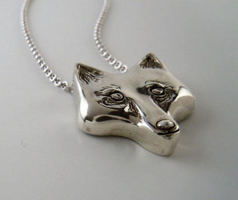 Fox Head Pendant Necklace in Sterling Silver