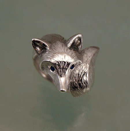 Sterling Silver Fox Ring Textured Fur Finish