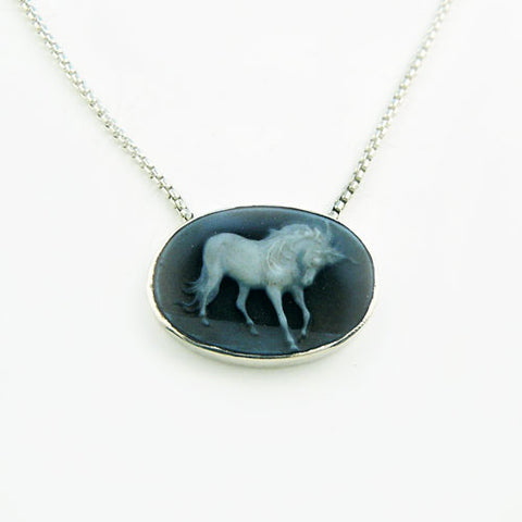 Petite Fury Blue Agate Horse Cameo Necklace