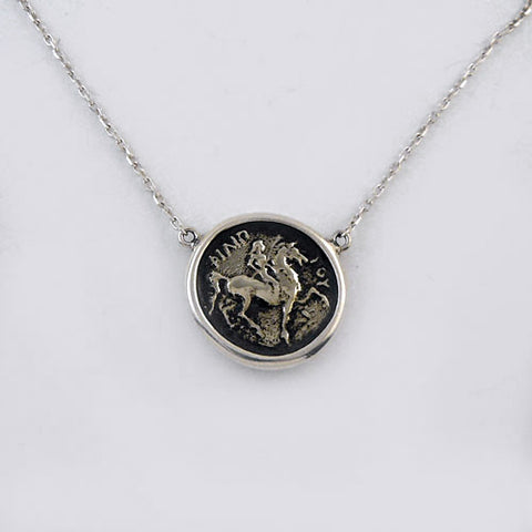 Antique Coin Horse and Rider Pendant Necklace