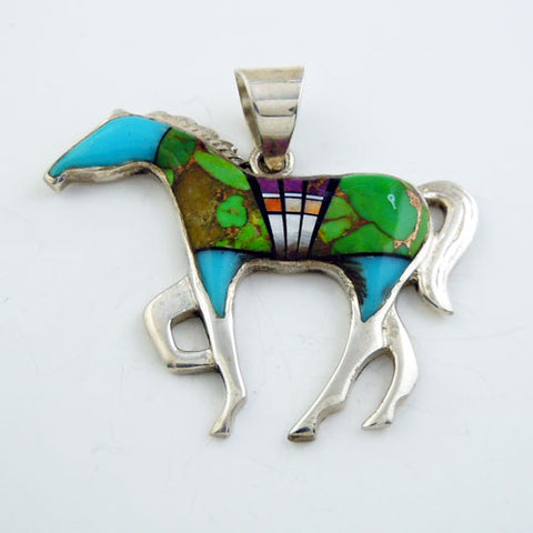 Large Turquoise Inlay Horse Pendant Necklace