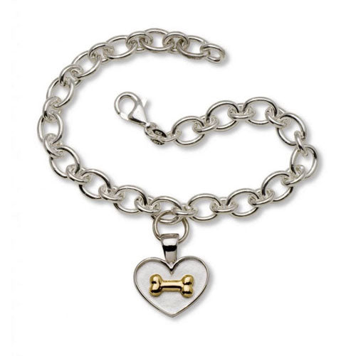Sterling Silver Heart with Dog Bone Charm Bracelet