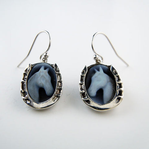 Horse Head Cameo Earrings Horseshoe Setting