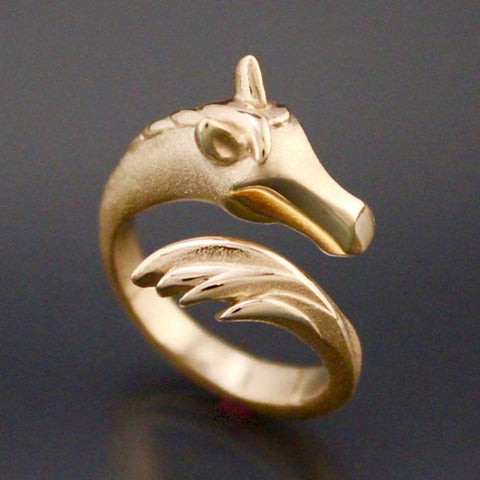 Horse Head and Tail Ring in Bronze or Gold