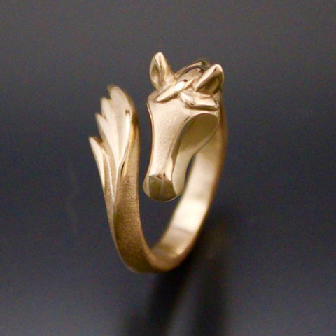 Horse Head and Tail Ring in Bronze