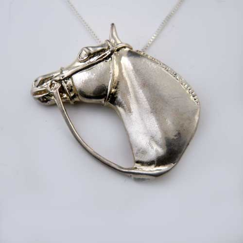 Hunter Jumper Horse Head Pendant Necklace