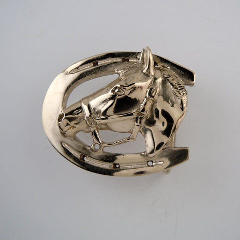Horse Head Horseshoe Belt Buckle