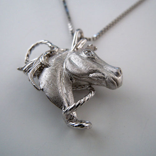 Horse Head With Cz Pendant Necklace Sterling Silver