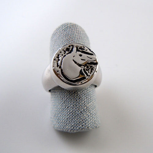 Sterling Silver Jet Horse Head Ring