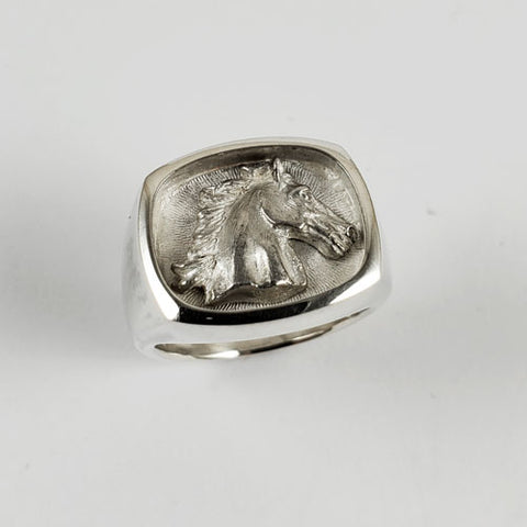 D'Oro Horse Head Signet Ring Sterling Silver