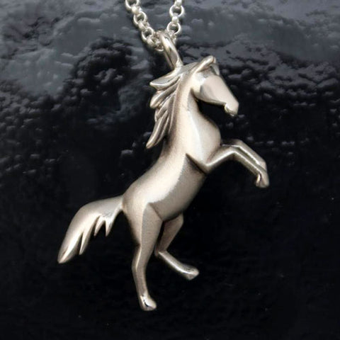 Fury Horse Pendant Necklace Sterling Silver