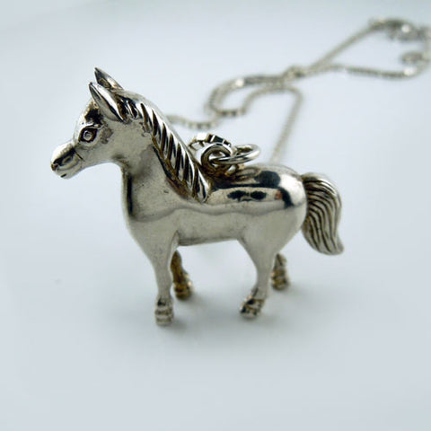 Standing Rock Horse Pendant Necklace Sterling Silver