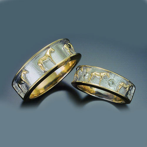 Men 14k Gold Standing Horse Wedding Band