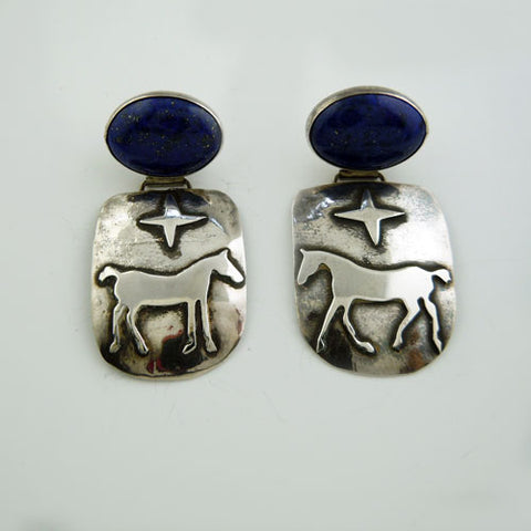 Star Pony with Lapis Earrings in Sterling Silver