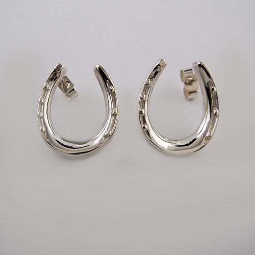 Large Horseshoe Post Earrings in Sterling Silver