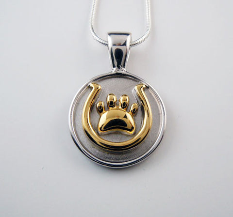 Horseshoe and Paw Print Pendant Necklace