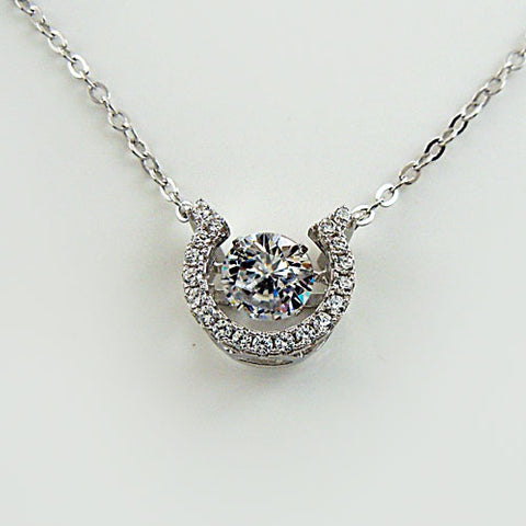 CZ Horseshoe with Dancing Center Stone Pendant Necklace