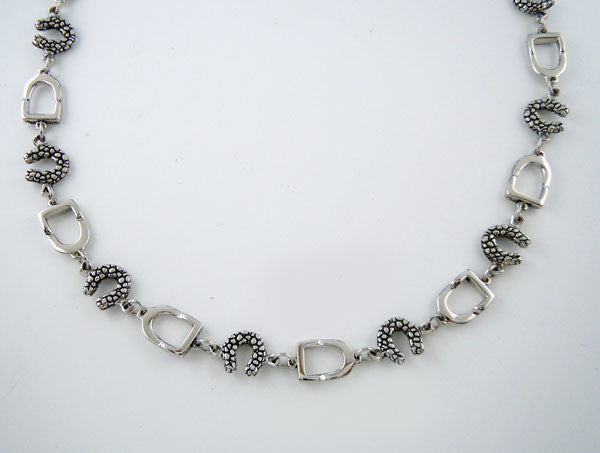 Sterling Silver Horseshoe and Stirrup Choker Necklace
