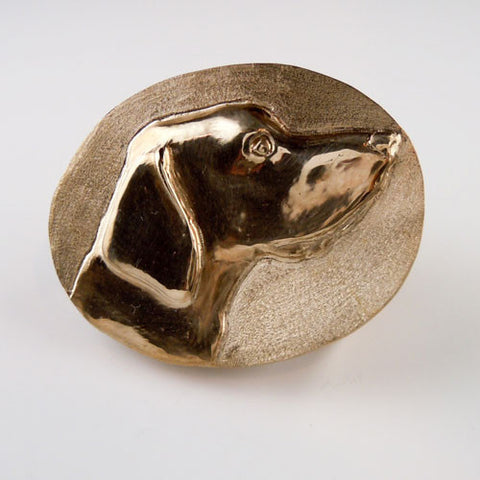 A Hunting Hound Dog Belt Buckle Bronze