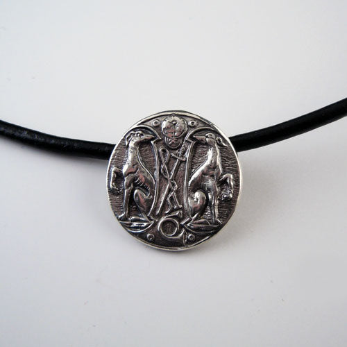 Hunting Hounds Pendant on Leather Cord