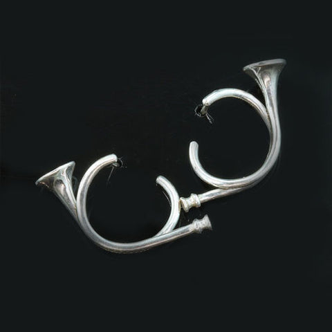Hunting Horn Earrings Sterling Silver