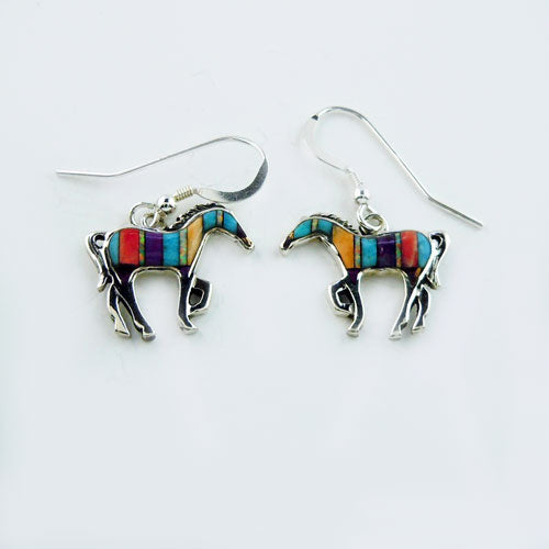 Multicolored Inlay Horse Earrings