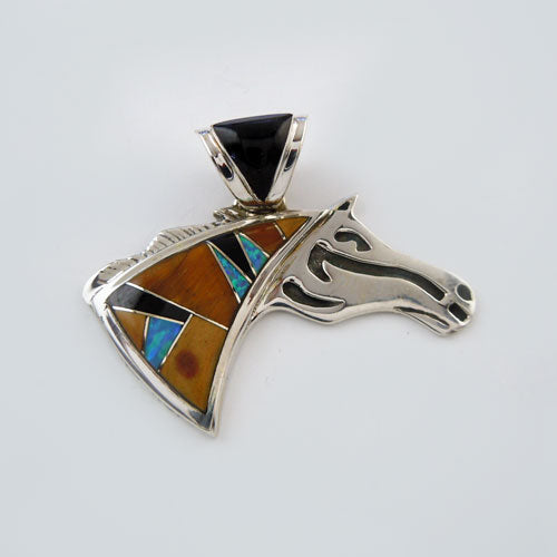 .Inlay Horse Head Pendant Necklace