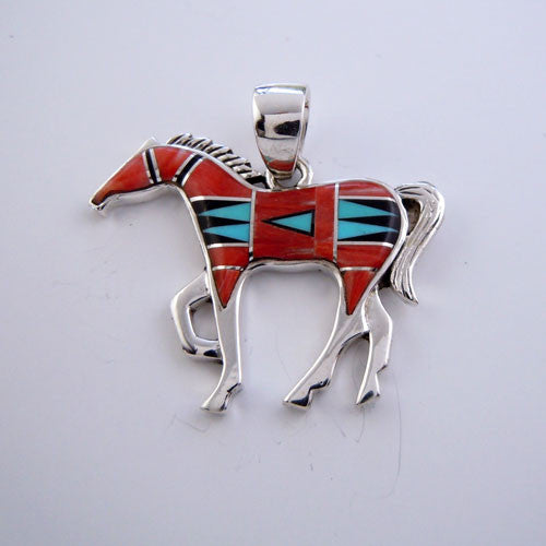 Chestnut Inlay Horse Pendant Necklace