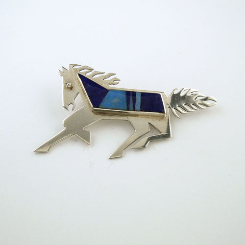 Lapis Inlay Horse Pin Sterling Silver