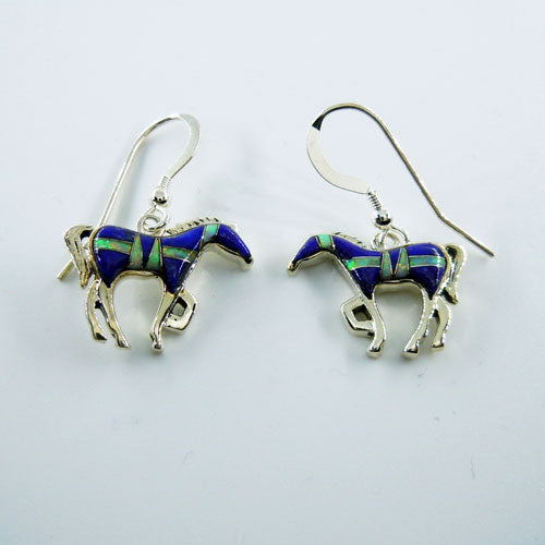 Lapis and Opal Inlay Horse Earrings