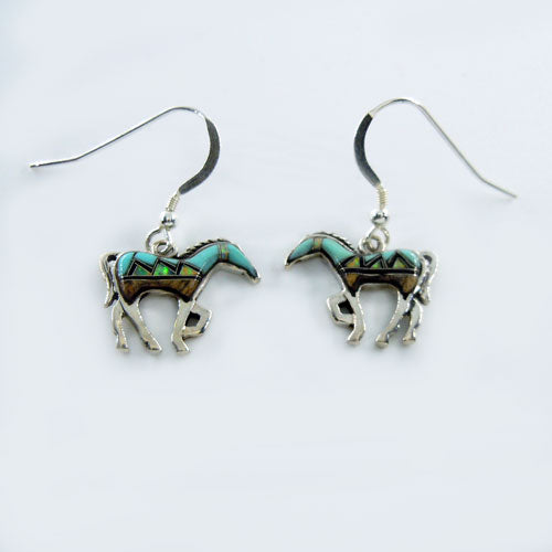 Mountain Inlay Horse Earrings