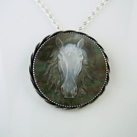 Carved Horse Head MOP Pendant Necklace