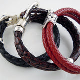Sterling Silver Scottie Dog on Braided Leather Bracelet