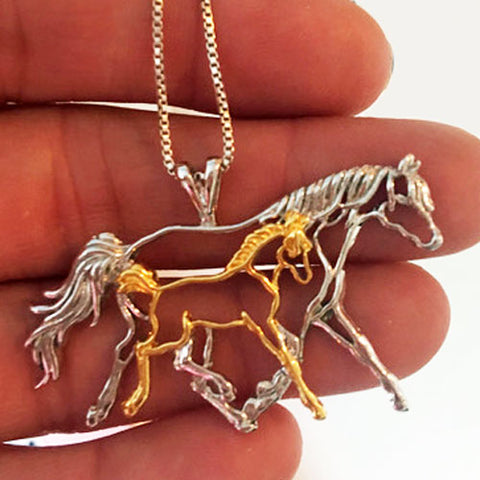 Mare Foal Pendant Necklace Sterling Silver and 18k Gold Overlay