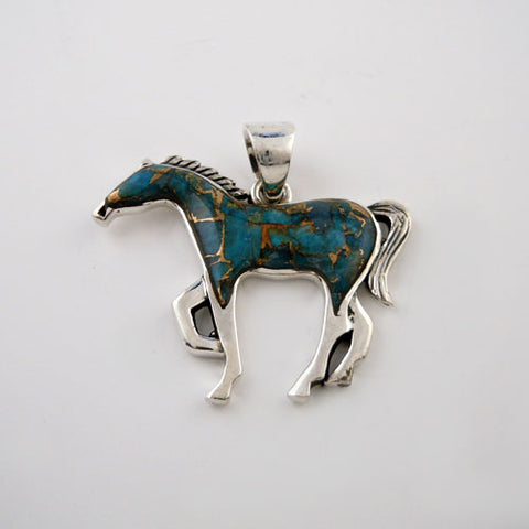 Sparkle Turquoise Matrix Horse Pendant Necklace