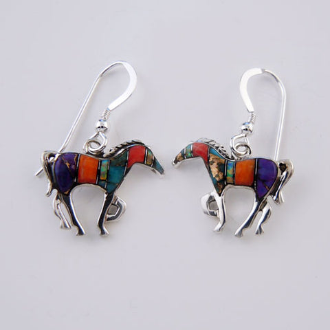 Multicolored Inlay Horse Earrings Sterling Silver