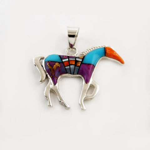 Lucy Multi Colored Inlay Horse Pendant Necklace
