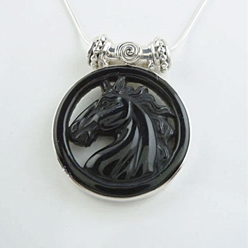 Obsidian Carved Horse Head Pendant Necklace
