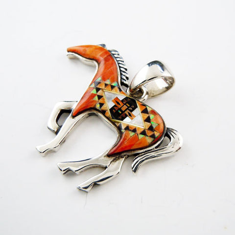 Challenger Chestnut Inlay Horse Pendant Necklace