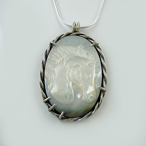 Oval Horse Head MOP Pendant Necklace