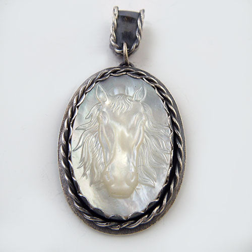Here's Looking at You Oval Horse Head Pendant Necklace