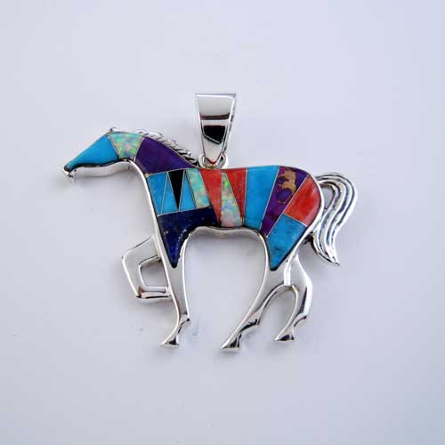 Large Paint Horse Inlay Horse Pendant Necklace