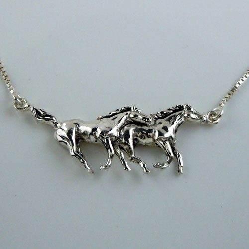Two Galloping Horses Necklace