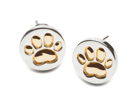 Paw Print Post Earrings 18k Gold or Sterling Silver